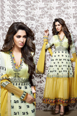 Green and Yellow Net Georgette Fancy Suit