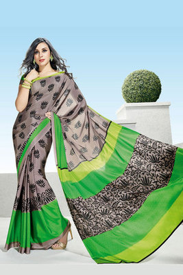 Beautiful Grey Colour Crepe Printed Saree