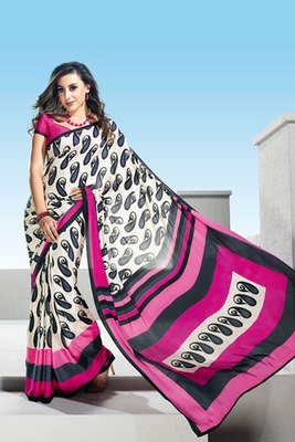 This a Off white and Pink Crepe Printed Saree
