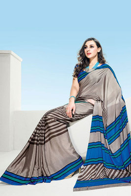 Grey and Blue Printed Saree with Art Silk Blouse