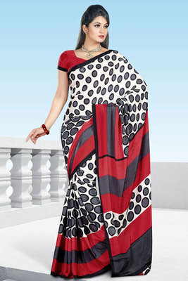 A Off white and Red Printed Saree