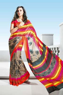 Beautiful Multi Colour Flower Printed Crepe Saree