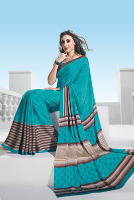 Teal Colour Crepe Printed Saree With Art Silk Blouse
