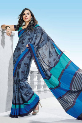 Blue and Grey Crepe Printed Saree