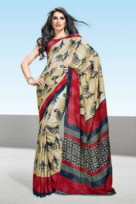 Cream and Red Printed Saree Made Of Art Silk Fabric