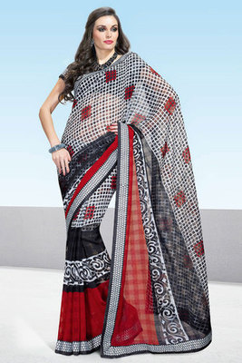 Off white and Black Printed Saree Manufactured by Art Silk Fabric