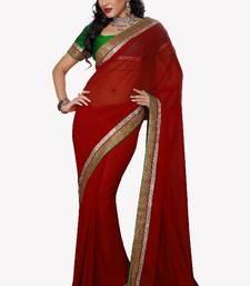 Buy Red Party Wear Chiffon Bollywood Saree With Blouse chiffon-saree online