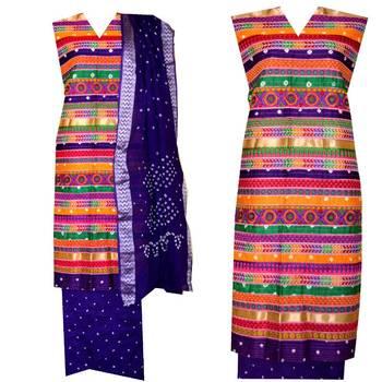 Ram Leela Style Dress Material In Cotton With Bandhani Bandhej