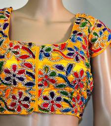 Yellow cotton embroidered readymade blouse