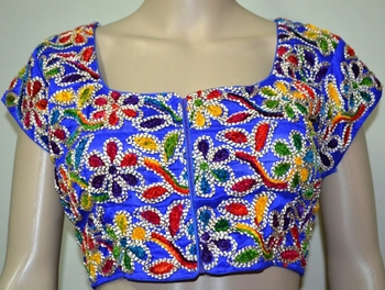 Blue cotton embroidered readymade blouse