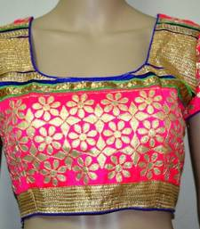 Pink cotton embroidered readymade blouse