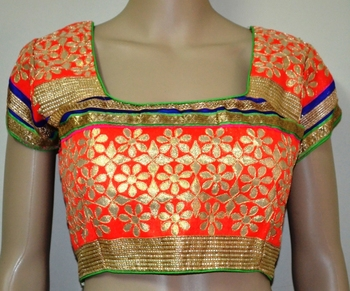 Orange cotton embroidered readymade blouse