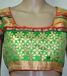 Green cotton embroidered readymade blouse