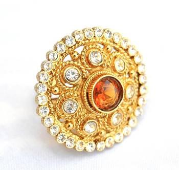 Kundan Gold Cocktail Ring
