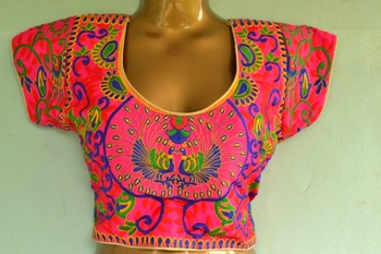 multicolor Bordered Embroidered Cotton Traditional Blouse