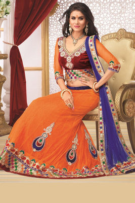 Magnificent Orange Net Lehanga Choli Showing Diamond and Hand work Butta