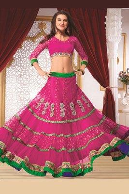 Pretty Pink Net Lehanga Choli Showing Diamond and Hand work