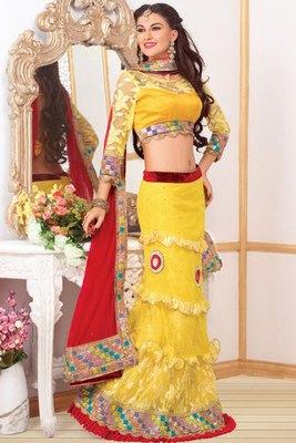 Lemon Yellow Net Lehanga Choli Showing Lace,Moti,Diamond and Hand work butta