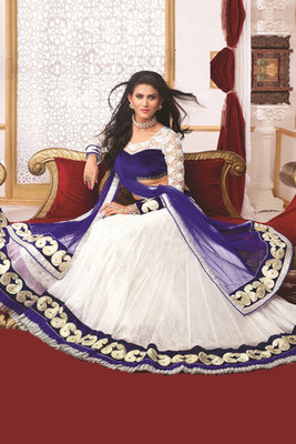 Charming White Net Lehanga Choli With Resham,Lace And Diamond Work