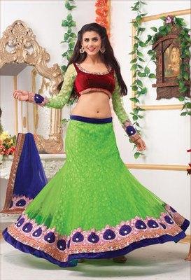 Green And Maroon Net Jacquard  Lehenga Choli with Net Dupatta