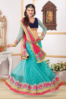 This a Turquoise Colour Net Lehenga Choli with Net Dupatta