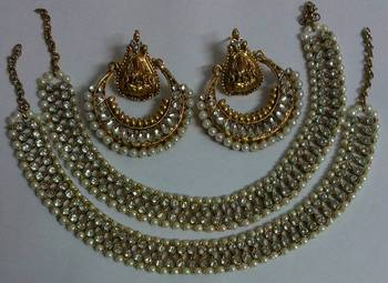 Designer Kundan Ram Leela Earings with Traditional Anklets
