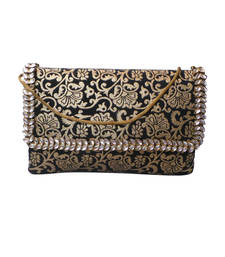 Buy Royal Brocade Kundan Work Clutch (Black) clutch online