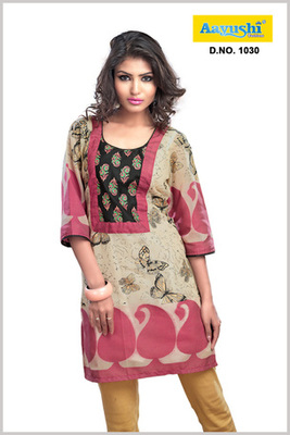 A beige and Red color banarsi cotton Kurti