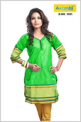A bright Green color Cotton Zari kurti