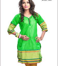 A bright Green color Cotton Zari kurti