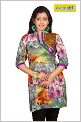 Multi Colour Flower Print crepe Kurti