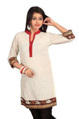 White Georgette Embroidered Kurti