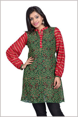 Maroon and Green Georgette Printed Kurti