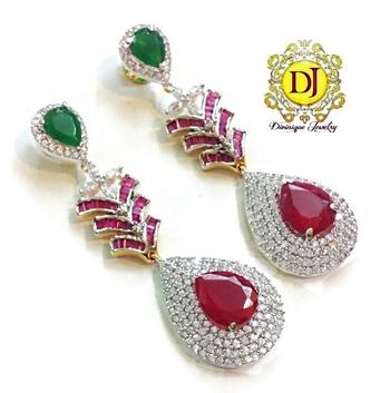 Splendid ruby n green party earrings