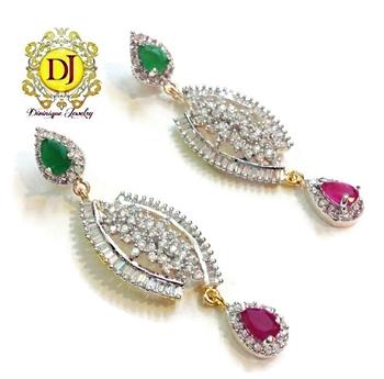 Beautiful ruby n green party AD earrings