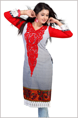 Red and Black Cotton Printed Kurta