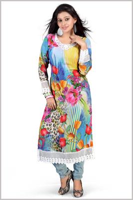 Multi Colour Full Sleeves Georgette Printed Kurta