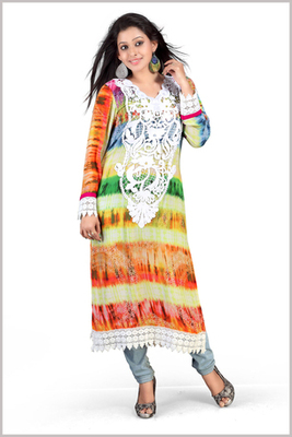 Full Sleeves Multi colour Georgette Printed Kurta