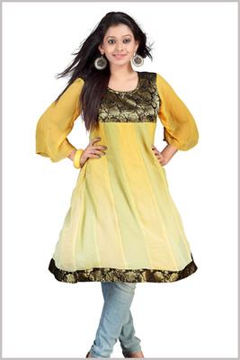 Yellow Fancy Georgette Anarkali Kurti