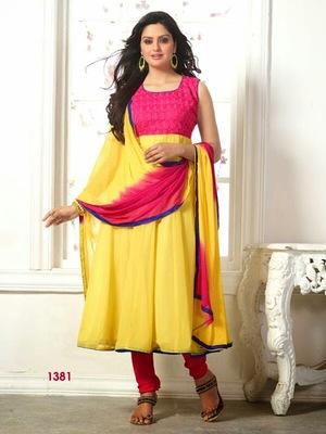 Yellow and Pink Gherdar Georgette Designer Anarkali Suits