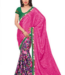 Buy Pink printed art silk saree With Blouse printed-saree online
