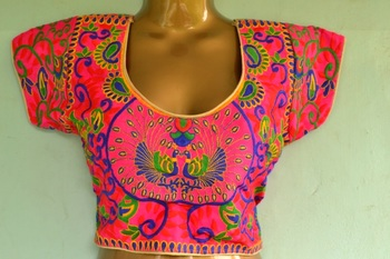 Pink peacock multicolor Bordered Embroidered Cotton Traditional Blouse