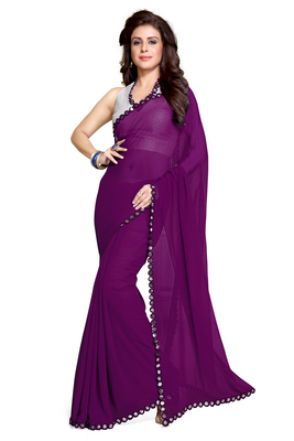 5e658e0965 purple plain georgette saree With Blouse - Mirchi Fashion - 1389546