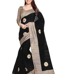 Buy black plain bhagalpuri silk saree With Blouse bhagalpuri-silk-saree online