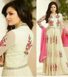 Buy White embroidered georgette unstitched salwar with dupatta anarkali-salwar-kameez online