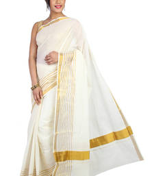 Buy Pavecha's Kerala Cotton 6 Lines Saree - MK822 cotton-saree online