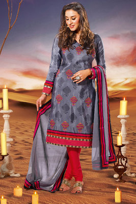 Attractive Grey Crepe Salwar Kameez Showing Zari Stone and Patch-patti Work