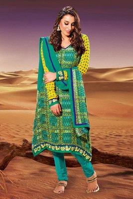 Green Crepe Zari and Embroidery Work Crepe Salwar Kameez