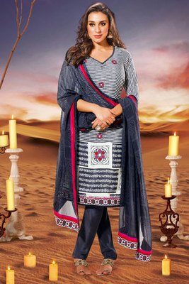 Off white and Blue Zari and Stone Worked Salwar Kameez Made Of Crepe Fabric