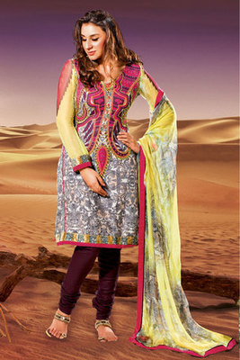 Attractive Stone and Patch-patti Worked Off white Crepe Salwar Suit